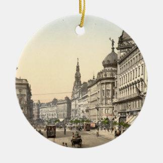 Ring Street, Budapest, Hungary Round Ceramic Ornament
