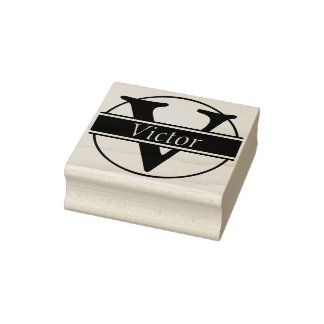 Ring & Stripes + your Monogram / Name Rubber Stamp