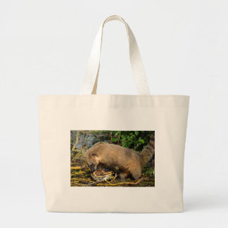 Ring-tailed Coati attacking a turtle Large Tote Bag
