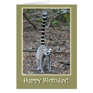 Ring-Tailed Lemur Happy Birthday Card