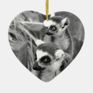 Ring-tailed lemur with baby black and white ceramic ornament