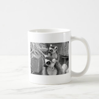Ring-tailed lemur with baby black and white coffee mug