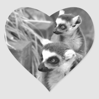 Ring-tailed lemur with baby black and white heart sticker