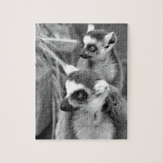 Ring-tailed lemur with baby black and white jigsaw puzzle