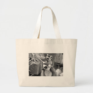 Ring-tailed lemur with baby black and white large tote bag