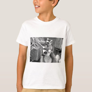 Ring-tailed lemur with baby black and white T-Shirt