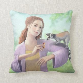 Ring-tailed Lemur with Girl Art Throw Pillow