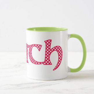 Ringer Coffee Mug, Welsh Cwtch with Polka Dots Mug