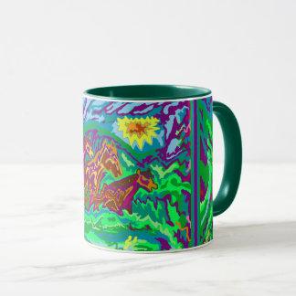 ringer mug green - purple feathered horses outside