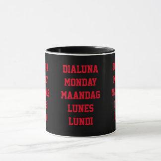 Ringer mugs, weekdays, Monday, funny mugs, Mug