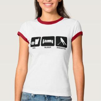 """Ringette """"Eat Sleep Ringette"""" Ladies Ringer Shirt"""
