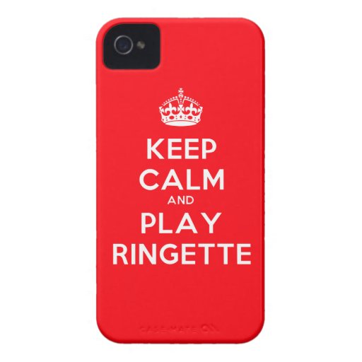 """Ringette IPhone 4 Case - """"Keep Calm"""" - Red"""