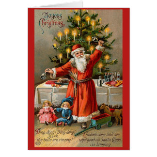 Ringing Bell Santa Christmas Card