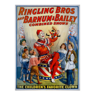 Ringling Brothers Barnum Bailey Vintage Clown Poster