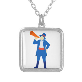Ringmaster Shouting Bullhorn Retro Silver Plated Necklace