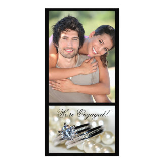 Rings and White Pearls Engagement Announcement Photo Greeting Card