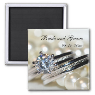 Rings and White Pearls Wedding Save the Date Square Magnet