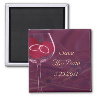 Rings In Wedding Glass Set Square Magnet