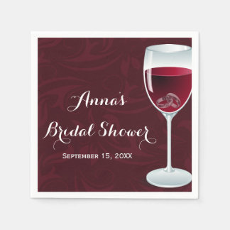 Rings in Wine Glass Bridal Wedding Paper Napkins