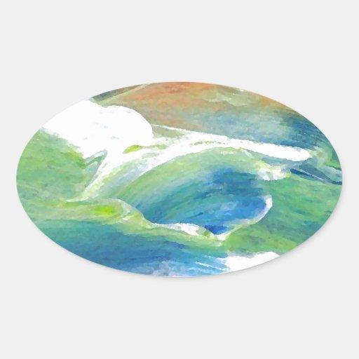 Rings of Saturn Ocean Waves Sea Art Abstract Sticker
