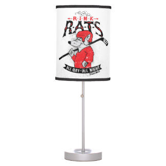 Rink Rats Hockey Red Table Lamp