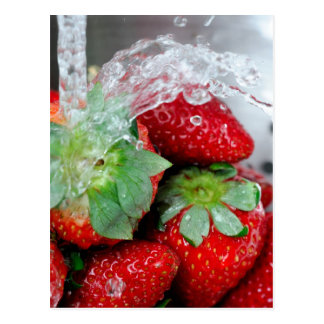 Rinsing Strawberry With Water Postcard