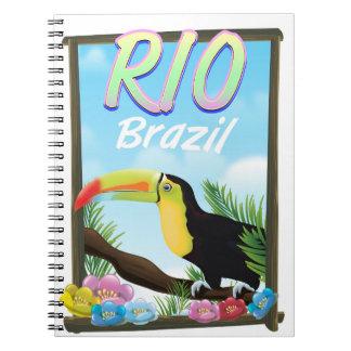 Rio Brazil Toucan travel poster Notebook