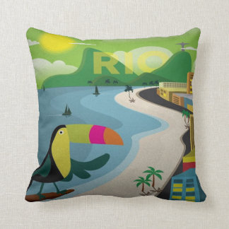 rio Brazil tourism Travel retro Ad pillow tourist