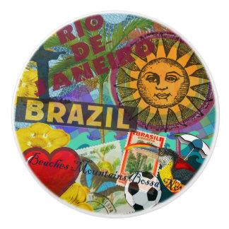 Rio Brazil Vintage Collage Colorful Ceramic Knob