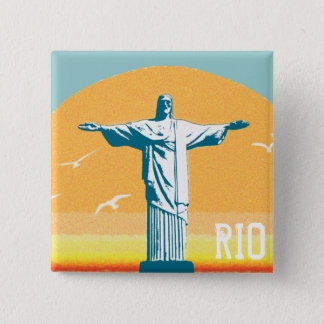 Rio - Corcovado - Jesus Christ the Redeemer 2 Inch Square Button