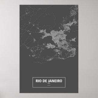 Rio de Janeiro, Brazil (white on black) Poster