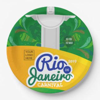 Rio de Janeiro Carnival custom add logo Paper Plate