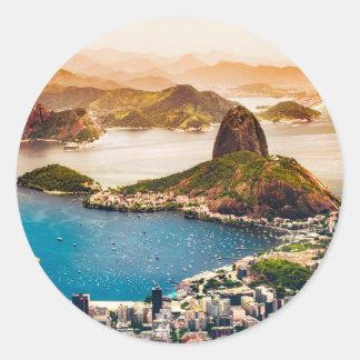 Rio De Janeiro Cityscape View Classic Round Sticker