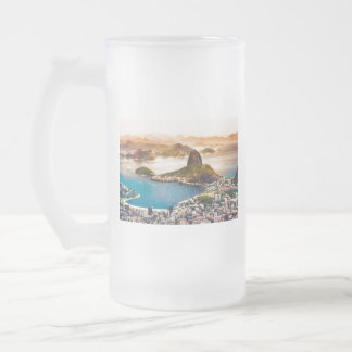 Rio De Janeiro Cityscape View Frosted Glass Beer Mug
