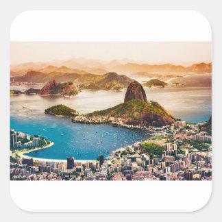 Rio De Janeiro Cityscape View Square Sticker