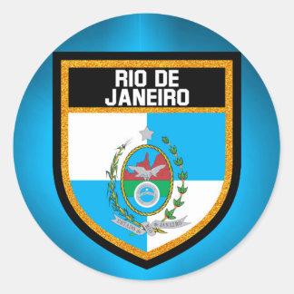 Rio de Janeiro Flag Classic Round Sticker