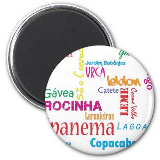 Rio de Janeiro Neighbourhoods 2 Inch Round Magnet