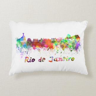 Rio de Janeiro skyline in watercolor Decorative Pillow