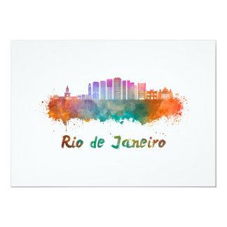 Rio de Janeiro V2 skyline in watercolor Card