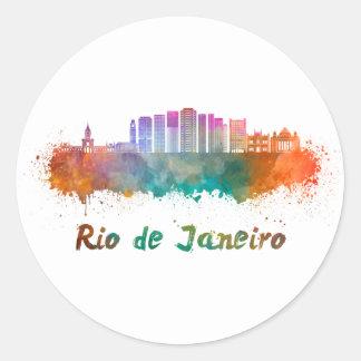 Rio de Janeiro V2 skyline in watercolor Classic Round Sticker