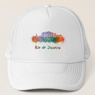 Rio de Janeiro V2 skyline in watercolor Trucker Hat