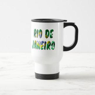 Rio de Janeiro Word With Flag Texture Travel Mug