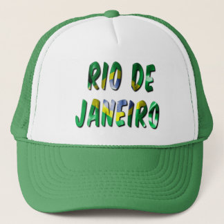 Rio de Janeiro Word With Flag Texture Trucker Hat