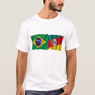 Rio Grande do Sul & Brazil Waving Flags T-Shirt