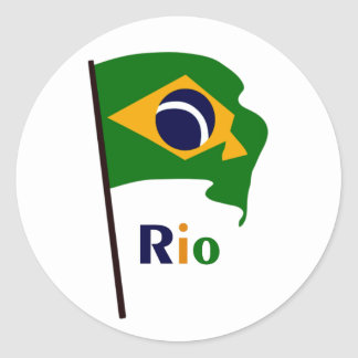 Rio, multicolored text classic round sticker