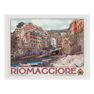 Riomaggiore Harbor - on White.jpg Postcard