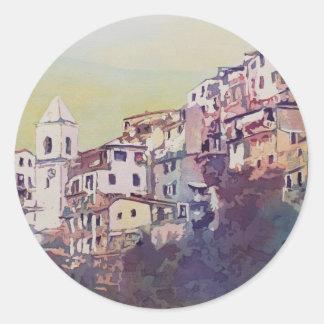 Riomaggiore Hillside Round Sticker