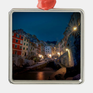 Riomaggiore village at night, Cinque Terre, Italy Metal Ornament