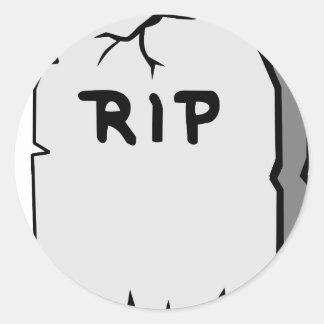 Rip Head stone Classic Round Sticker