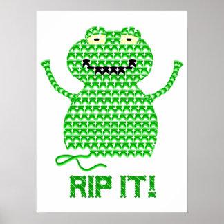 Rip It! Vector Crochet Frog Poster